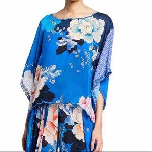 Johnny Was floral print boho top poncho blue 1x